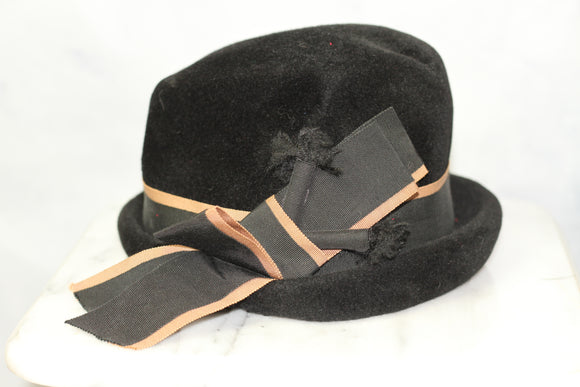 Encore Kutz Black Wool Cloche Hat