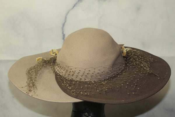 Two Tone Wool Grey Wide Brim Panama Hat