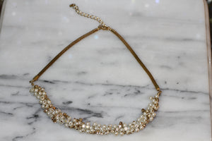 Pearl Rhinestone Gold Necklace