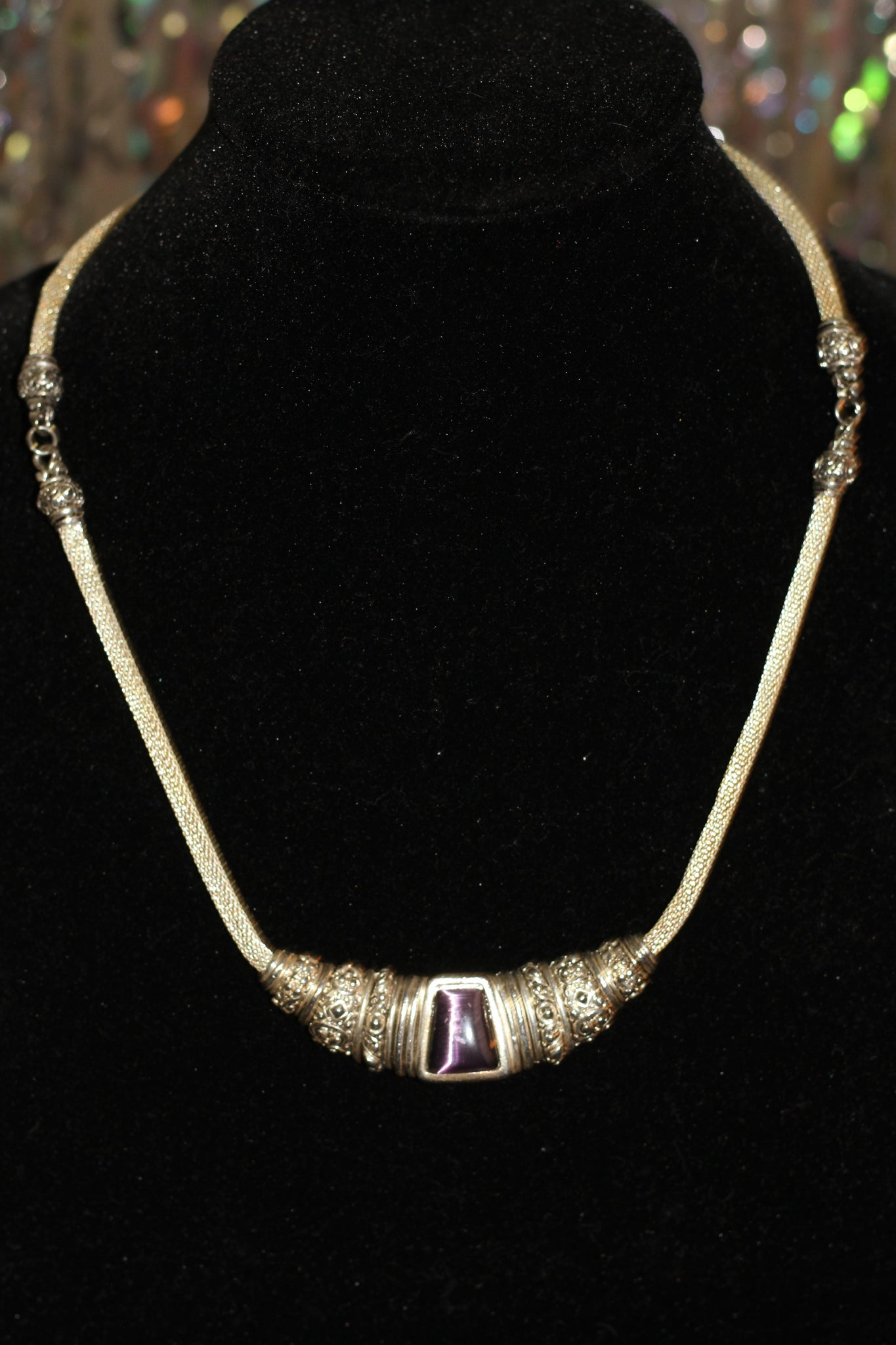 Silver Necklace with Purple Stone