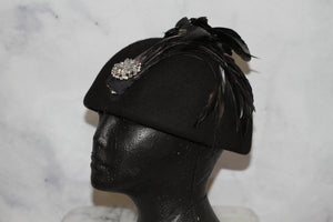 Black Wool Pill Round Hat