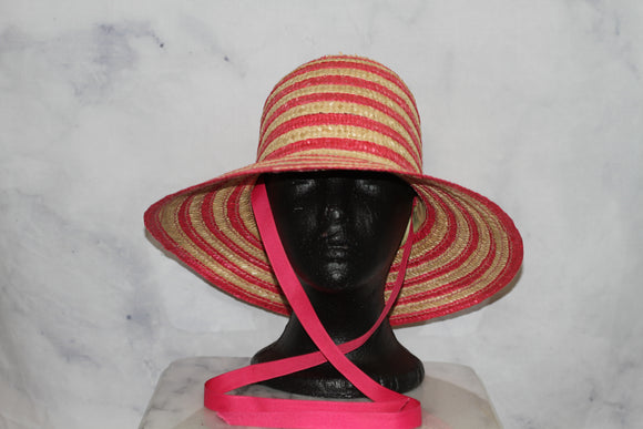 D'Angela Pink Pink Ribbon Straw Wide-brim Hat (7 3/4)