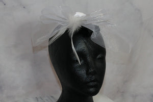 White Cocktail Hat with Bow