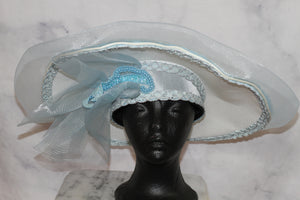 White & Blue Satin Large Brim Bowler Hat (7 3/4)