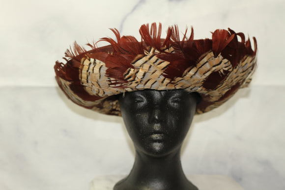 Deborah New York Wool Brown Feathered Wide Brim Bowler Hat