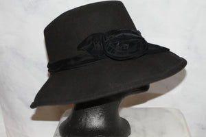 Commodore Line Felt Black Wool Bowler Hat
