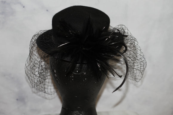Black Wool Pill Box with  Veil