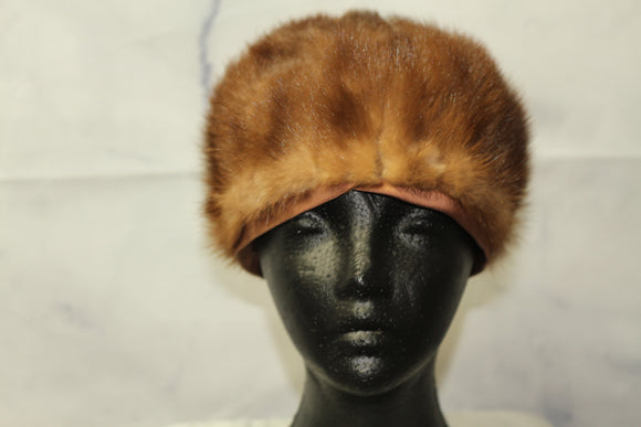 Leemart Brown Mink Fur Beret Hat (7 3/4)