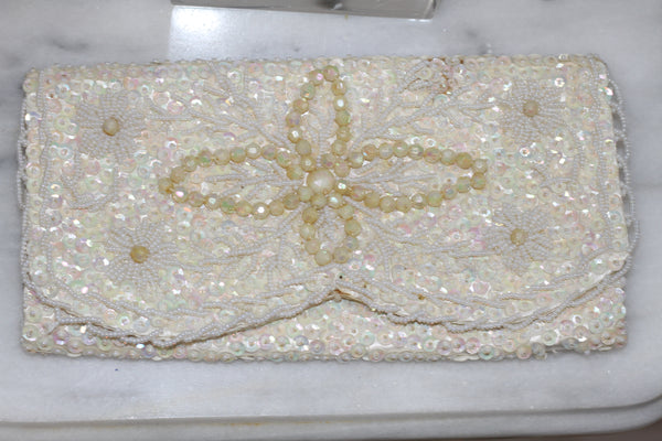 White Satin Clutch with Pearl Trimming & Studs Clutch