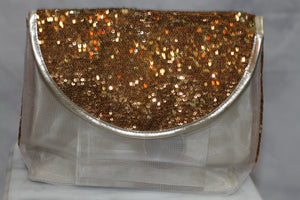 Gold Iridescent Sparkle Mesh Clutch