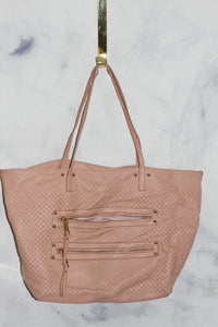 Soft Pink Leather Tote Handbag