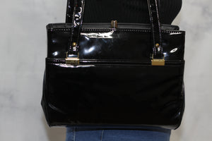 Black & Gold Patent Leather Shoulder Handbag