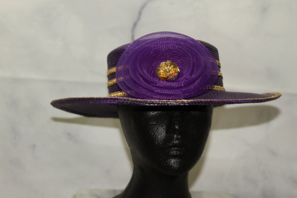 Purple & Gold Wide Brim Hat