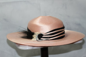 Pink & Black Wide Brim Hat