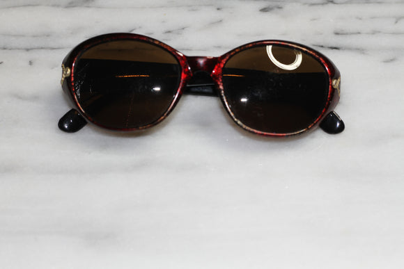Burgundy & Gold Round Sunglasses