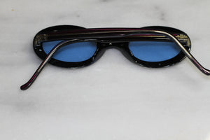 Hand Polished Brown Round Blue Tint Sunglasses