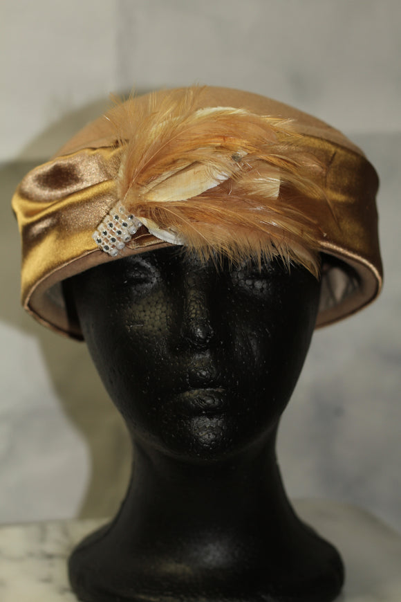 Lily Lee Wool Tan & Gold Feathered Pillbox Hat