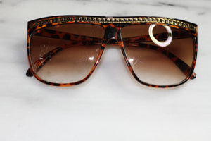 Brown Gold Chain Aviator Italy  Sunglasses