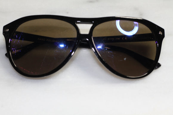 Hand Polished  Black Round Sunglasses
