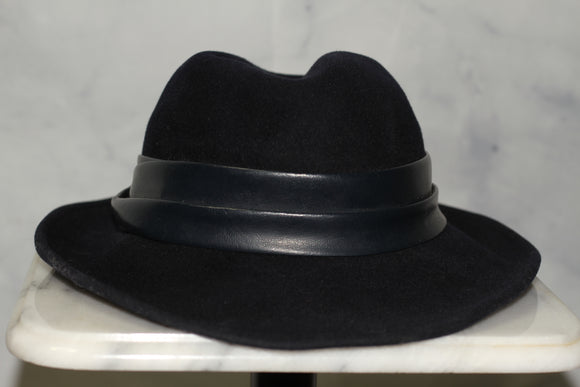 Adolfo Wool Navy Blue Panama Hat