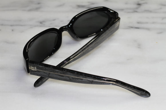 Snake Print Black Rectangle Sunglasses