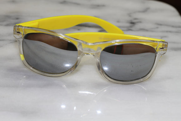 Yellow Mirrored Square Sunglasses
