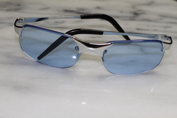 Blue & Silver Rimless Sunglasses