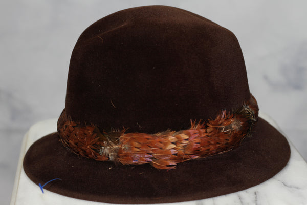 Cavanagh New York Brown Feather Cloche Hat