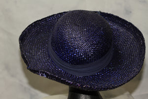 Straw Blue Sunflower Wide Brim Hat