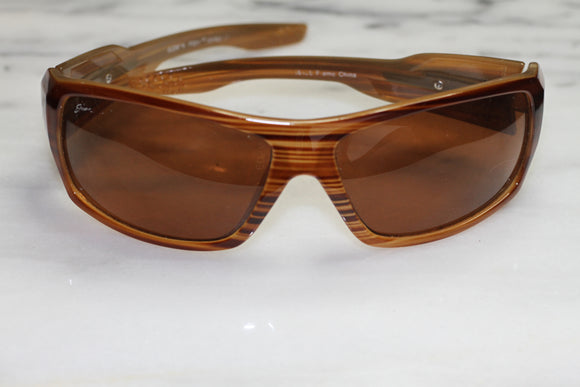 Brown Rectangular Wrap Around Sunglasses