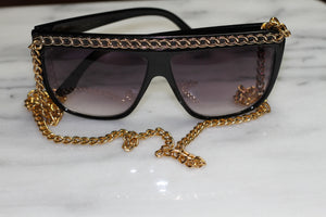 Gold Black Rectangular Sunglasses