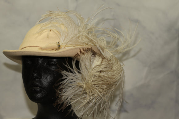Leslie James Wool Cream Feathered Bowler Hat