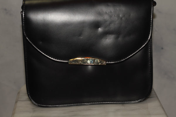 E Collection Dark Blue Genuine Leather Envelope Handbag Purse