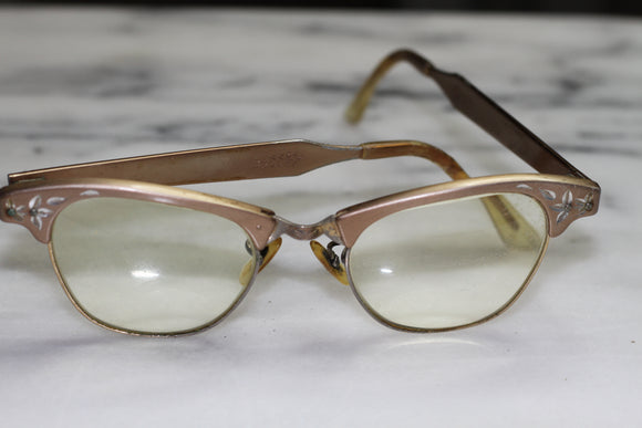Art Draft Alum  Mid Century Cat Eye Rx Frames Glasses 4-5 1/2