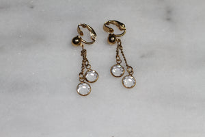 Gold & Clear Clip On Earrings