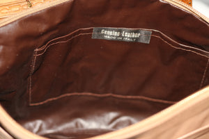 Leather Camel Clutch Envelope Handbag