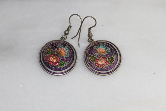Multi Color Floral Round Dangle Earrings