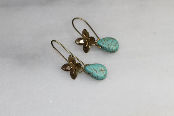 Turquoise Butterfly Dangle Earrings
