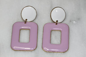 Sugar Fix White & Purple Square Earrings