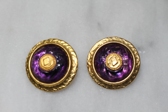 Robert Rose Purple & Gold Earrings