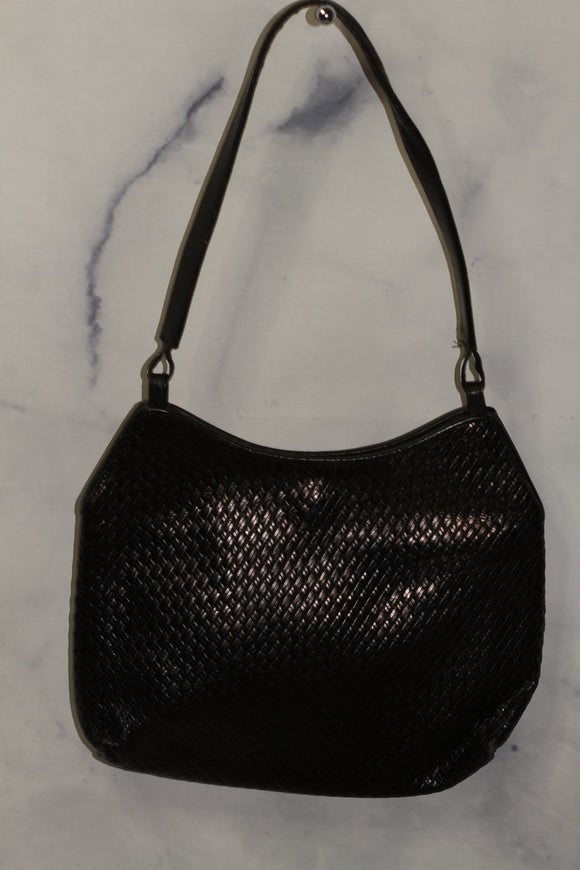 Leather Black Woven  Handbag with Red Velvet Lining