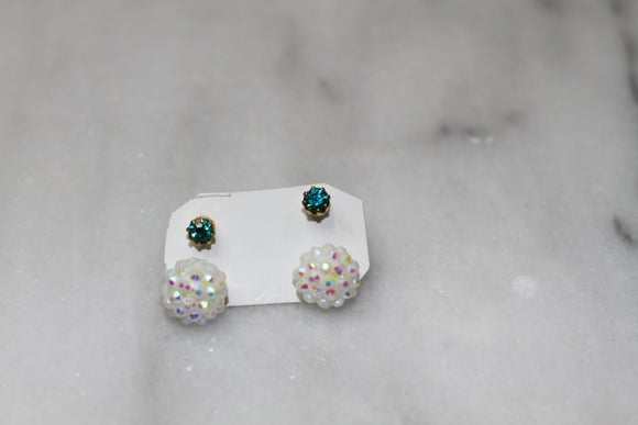 White Sequin Studded Earrings (2pc set)