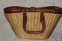Express Leather & Straw Large Tote Bag