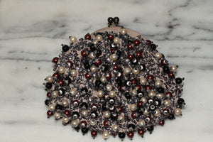 Santi Beaded Pearl Burgundy Black Clutch Handbag, One Size