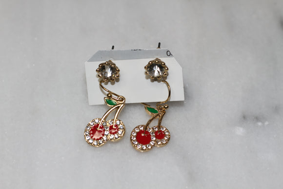 Gold Cherry Earrings (2pc Set)