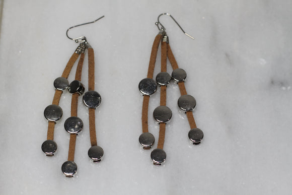 Suede Decorative Silver Dangle Earrings