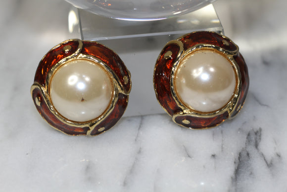 Gold Pearl Clip-On Earrings