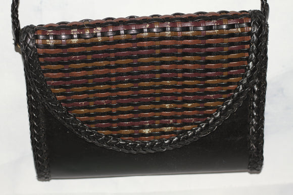Tianni Leather Woven Black & Brown Handbag