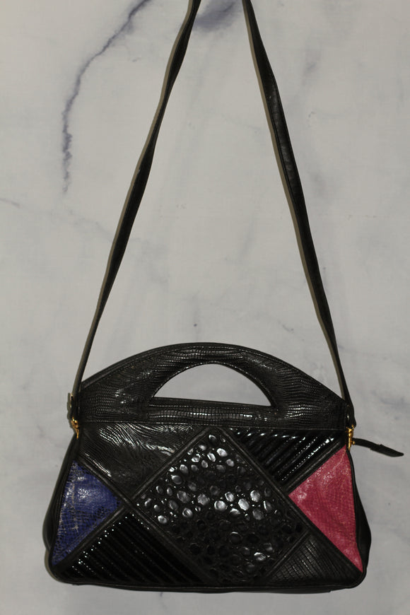 Black Multi-Color Leather Handbag