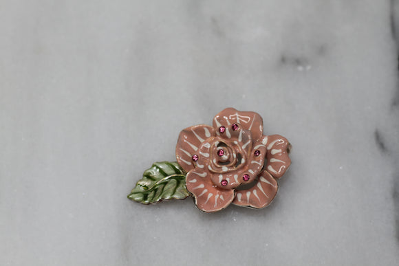 Rose Enamel Brooch